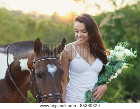 Beautiful Woman And A Horse