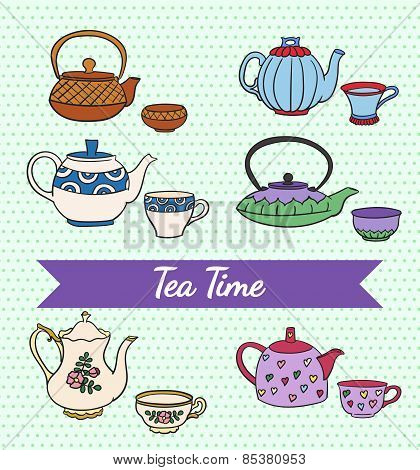 Vector set of cute colorful freehand teapots and cups