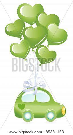 Green ecology car whit green heart balloons