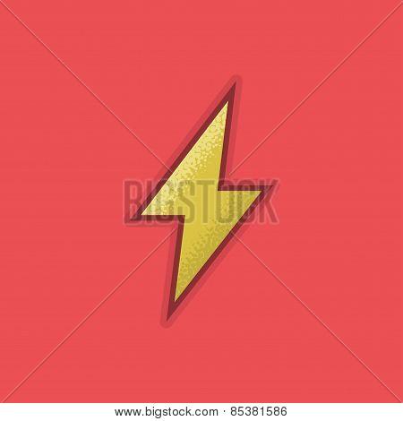Lienar Flat Stroke Lightning Icon