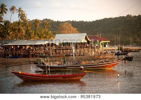 Traditional Fisherman Long Tailed Boat In Koh Phitak Island, Thailand.