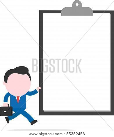 Businessman Holding Big Clipboard And Running