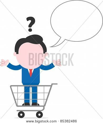 Confused Businessman Inside Shopping Cart