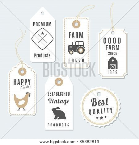 Set Of Premium Vintage Farm Tags, Labels, Vector Illustration