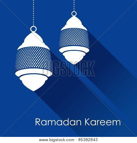 Arabic Lamp, Lantern With Long Shadows, Vector Illustration