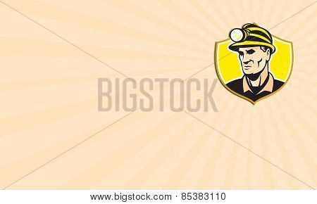Business Card Miner With Hardhat Helmet Shield Retro