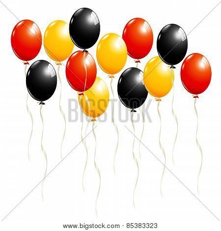 Set Of Balloons In Black, Red And Gold, In Germany National Colors