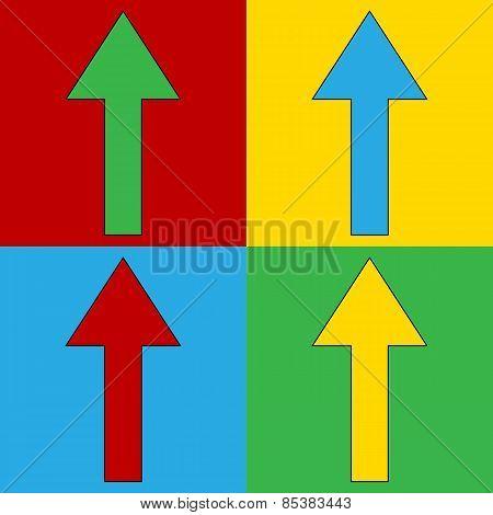 Pop Art Arrow Straight Symbol Icons.