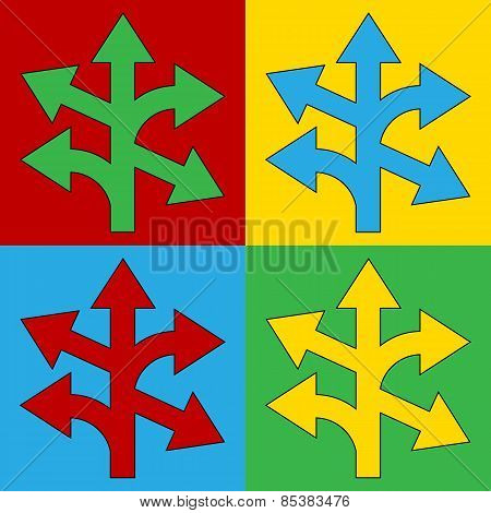 Pop Art Straight, Left And Right Arrow Symbol Icons.