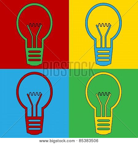 Pop Art Light Bulb Symbol Icons.