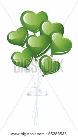 Green heart balloons whit ribbons isolated on white