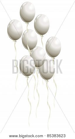 Flying White Balloons
