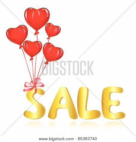 Sale message with balloons. Vector-Illustration
