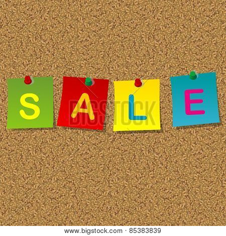 Colored Stick Noets With Word Sale Pinned To A Cork Message Board