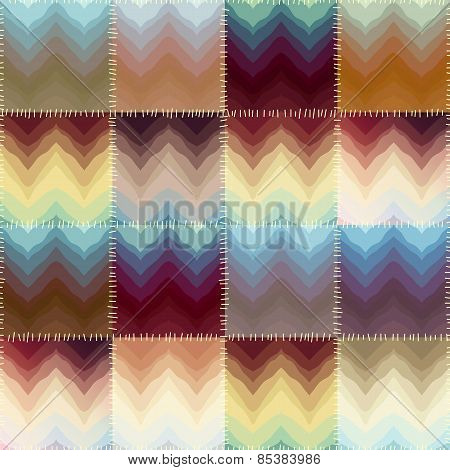 Patchwork with chevrons of stains.