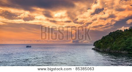 Panoramic sea view at afternoon in Trinidad and Tobago island