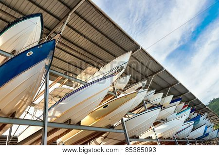 Power boats sheltered parking facility marina in Trinidad