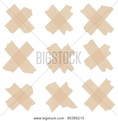 Set of cross adhesive tape. Vector illustration
