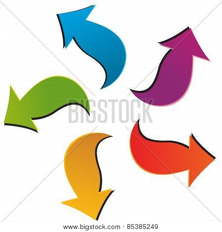 Set Of Five Colorful Arrows