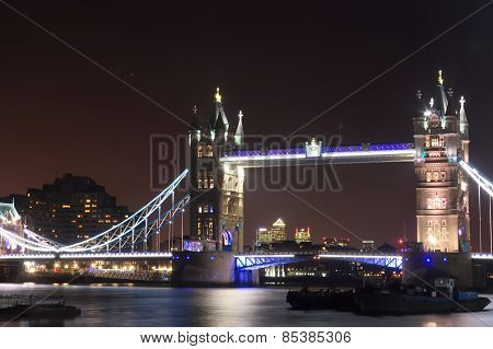 Tower Bridge lit at night