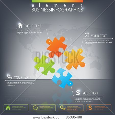 3D Puzzle piece infographics on dark background. Can be used for web design , diagram, for workflow