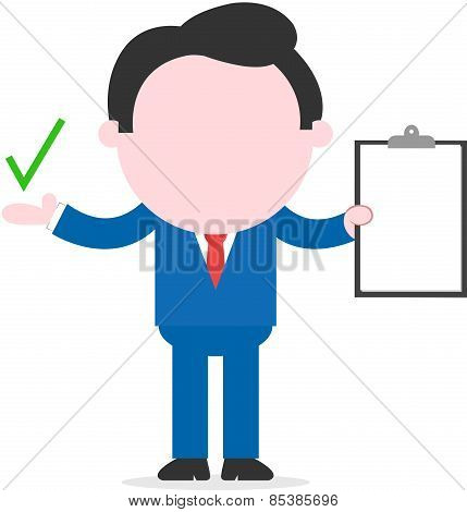 Businessman Holding Clipboard And Showing Check Mark