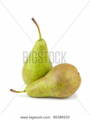 Pair Of Green Ripe Pears