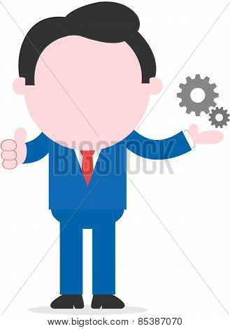 Businessman Showing Small Gears And Thumb Up