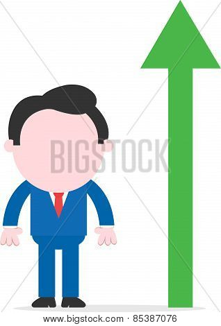 Businessman Beside Green Arrow