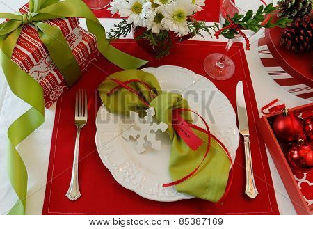 Holiday Place Card Table Setting