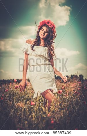 Beautiful girl wearing white summer dress and flower chaplet in poppy filed