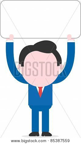 Businessman Lifting Blank Banner Overhead