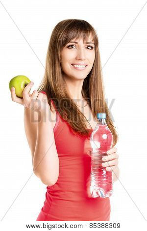 Young Happiness Girl With Bottle Of Water And An Apple