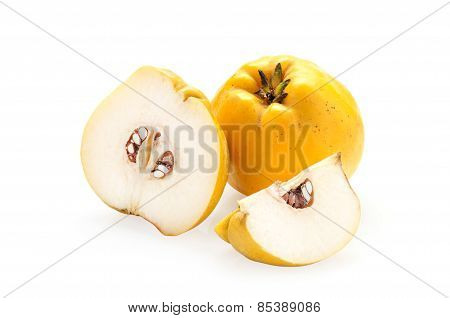 Quince With Slices On A White Background