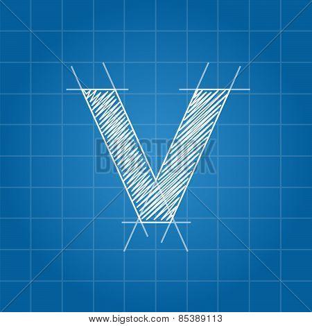 V letter architectural