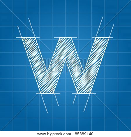 W letter architectural plan