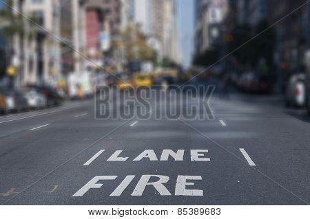 Blur Background Fire Lane New York City Streets