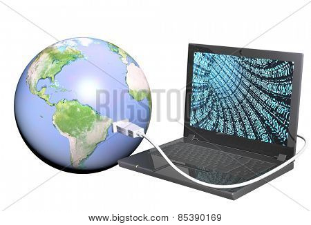 Earth and laptop. Objects isolated on white background. Elements of this image furnished by NASA
