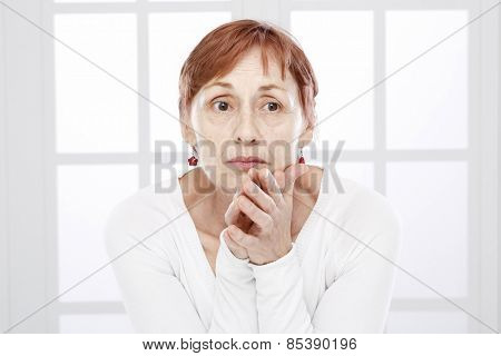 Sixty years old woman face