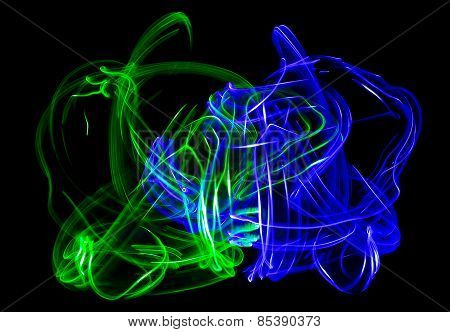 Abstract Green And Blue Ameboas
