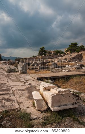 Ancient Greek Ruins At The Archaeological Place Of Ancient Elevsina