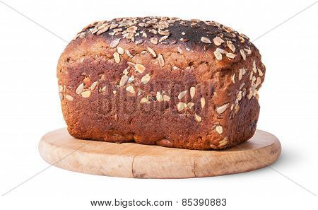 Unleavened Bread With Seeds On Wooden Board