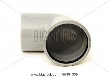 Drain pipe grey corner on white