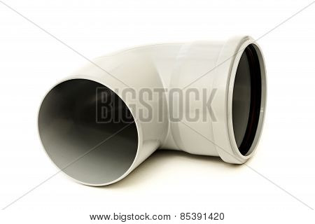 Drain pipe grey corner isolated on white