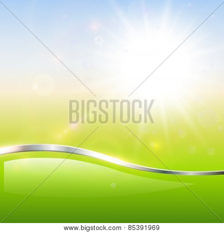Blurry sunny scene with sun burst, blue and green blur sky, vector illustration