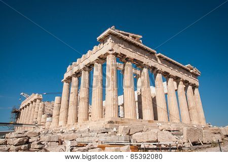 Ruins Of The Ancient Acropolis In Athens