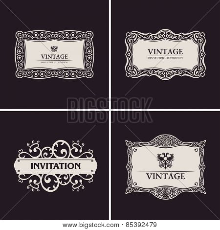 Label vector frames elegant border set. Vintage banner design black ornament