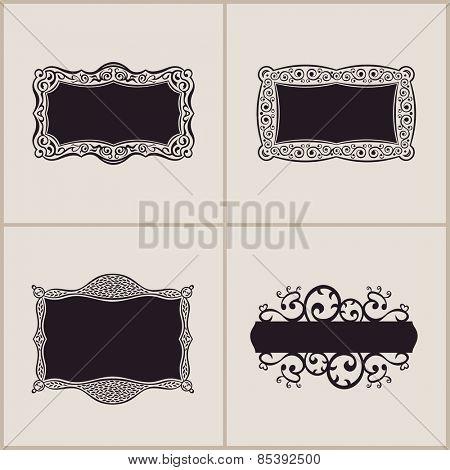 Label vector art frames elegant border set. Floral banner design ornament