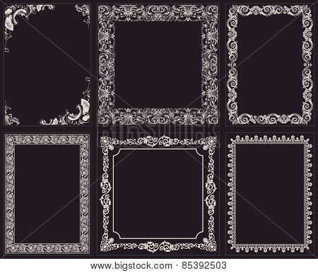 Vector calligraphic frames set. Baroque ornament and vintage black border