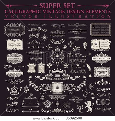 Vector Calligraphic baroque set. Vintage design elements and page decoration. Border frames collection royal ornament